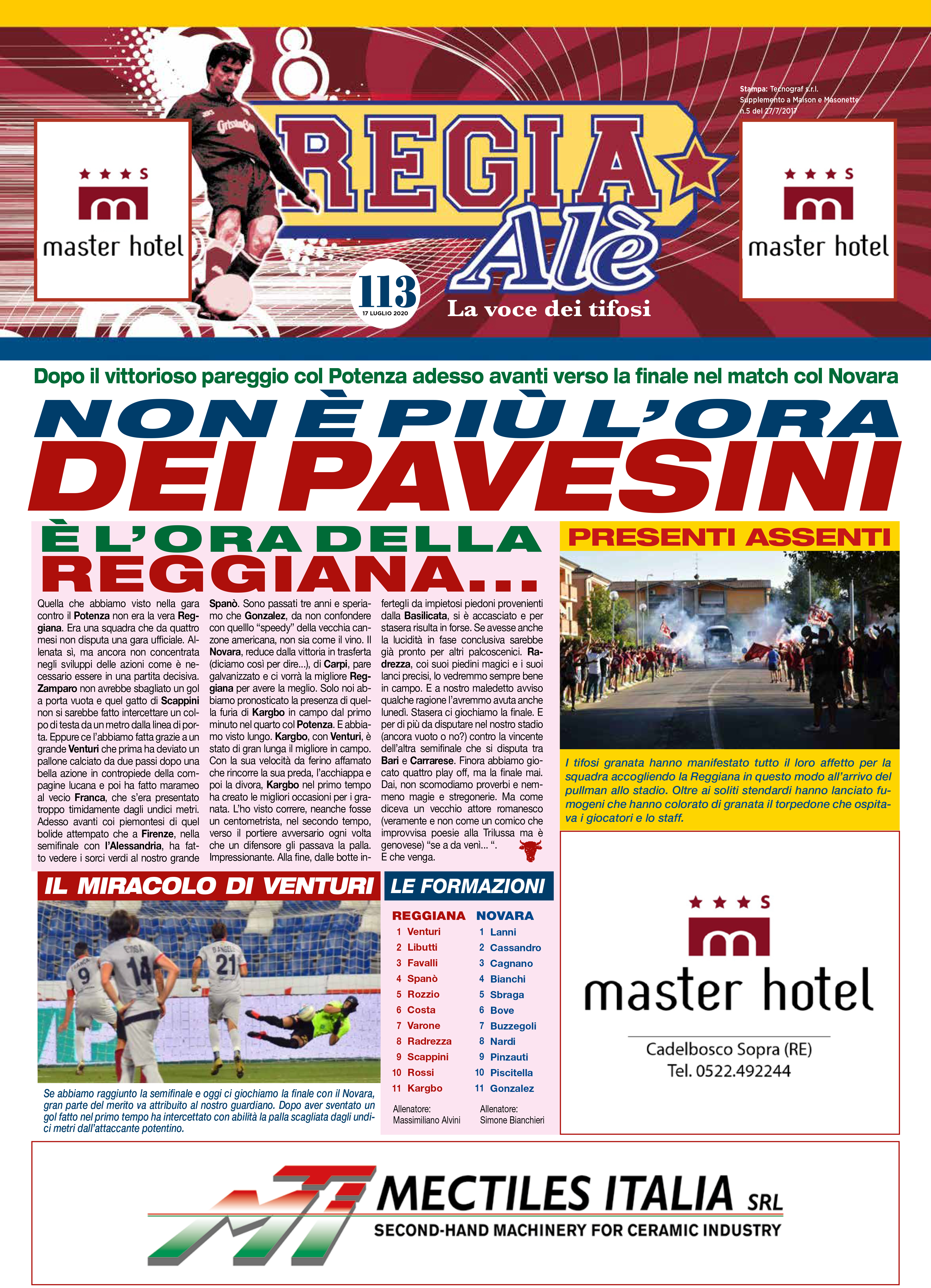 Il numero 113 di Regia Alè in vista di Reggiana – Novara