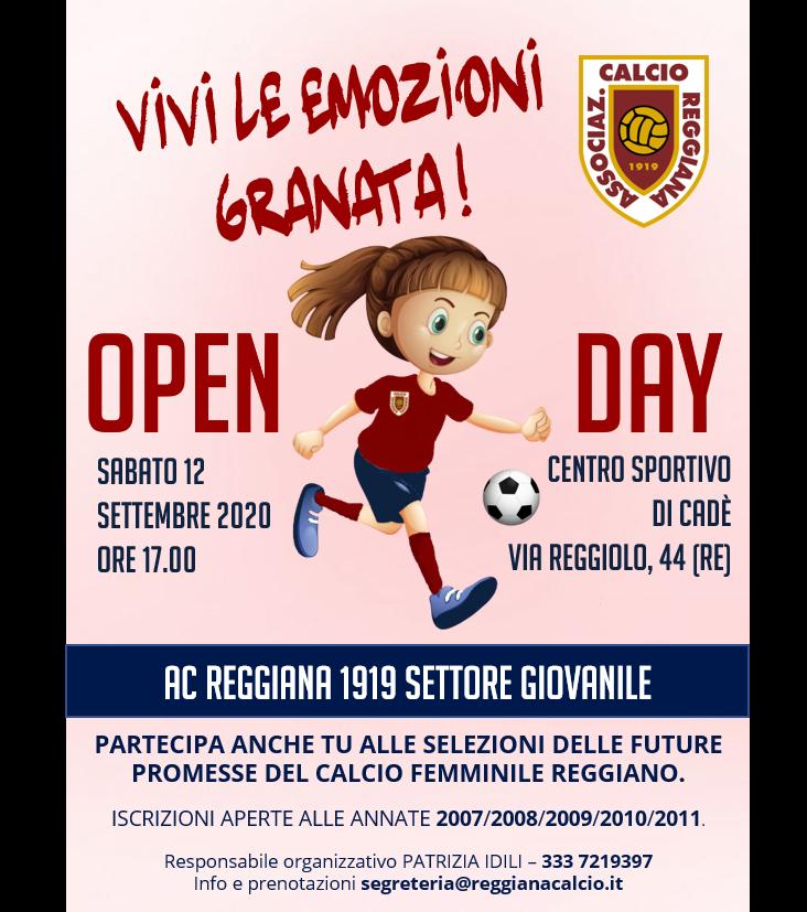 Open Day calcio femminile il 12 settembre